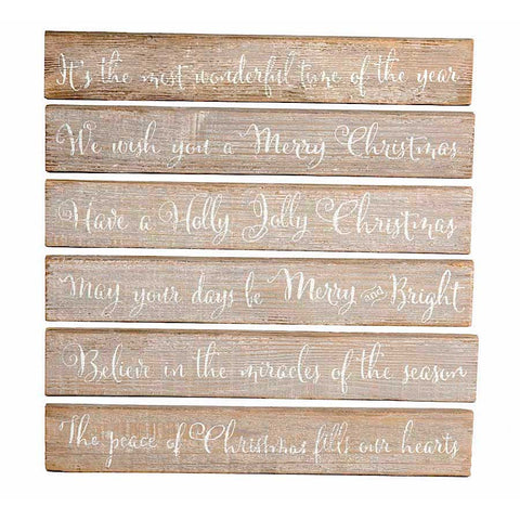 Christmas Brown Barn Board Tabletop Signs