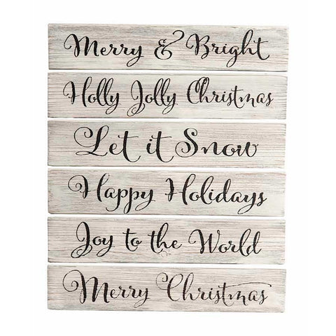 Christmas White Washed Barn Board Sign
