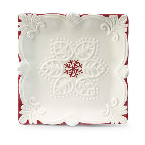 Ceramic Plate with Red Snowflakes