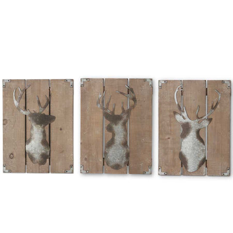 Deer Wall Plaque, Distressed Tin