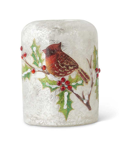 Cardinal Glass Candle Holder