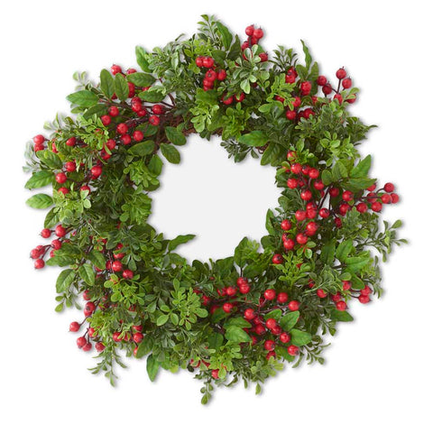 Mixed Boxwood and Red Berry Wreath