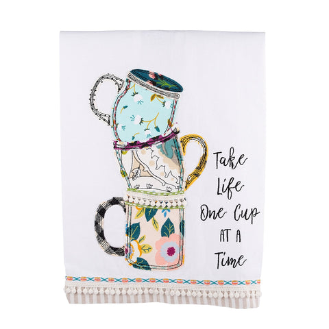 Take Life One Cup Tea Towel