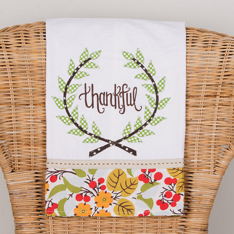Thankful Laurel Wreath Tea Towel