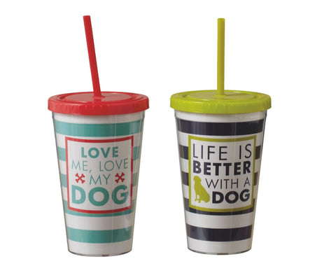 Dog Striped Tumbler 16oz