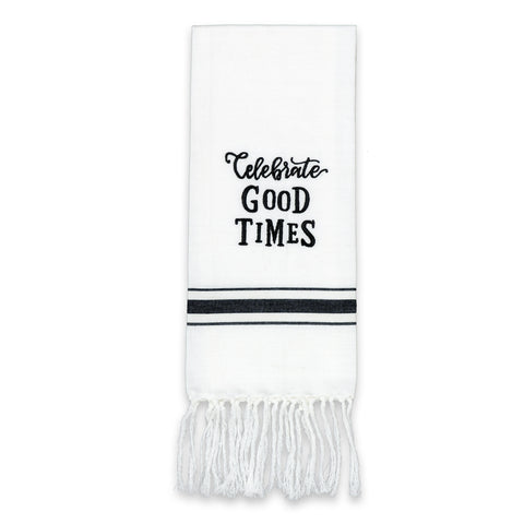 White tea towel with black lettering and black stripes along the bottom of the towel