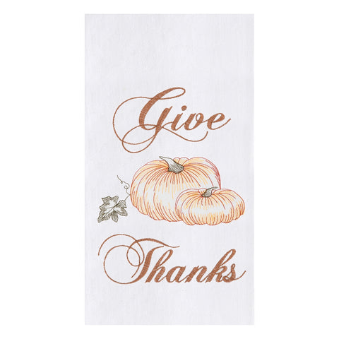 "Towel with pumpkins embroidered in orange and the words ""Give Thanks"" embroidered in brown with an embroidered leaf."