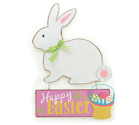 This hanging tin bunny sign is a great value & perfect to adorn any wall of door.