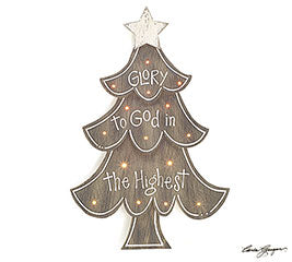 Glory to God Lighted Easel Tree