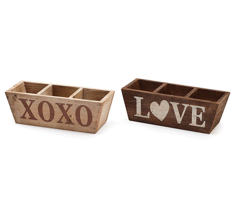 Wood XOXO/Love Divided Planter