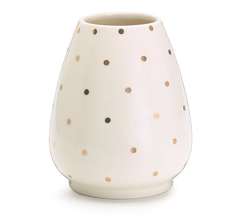 Gold Dots on White Vase