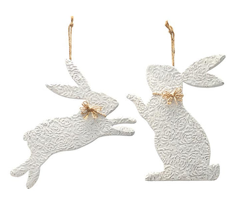 Embossed Tin Bunny Wall Hanging