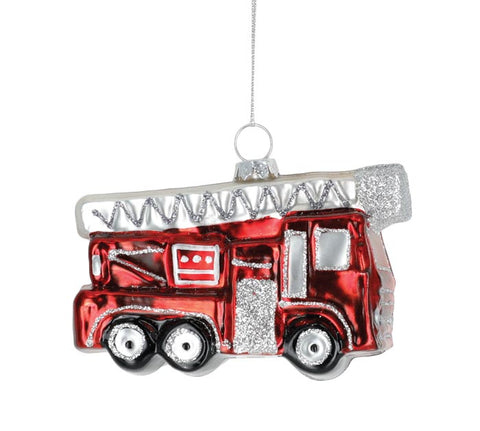 Shiny red fire truck with a silver ladder on top ornament.