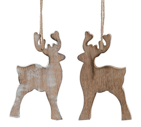 Wood Reindeer Christmas Ornament