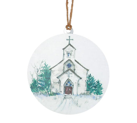 Tin White Church Ornament