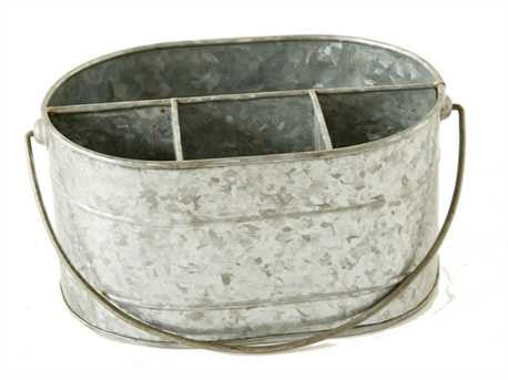 Metal Bucket with Compartments, Zinc Finish