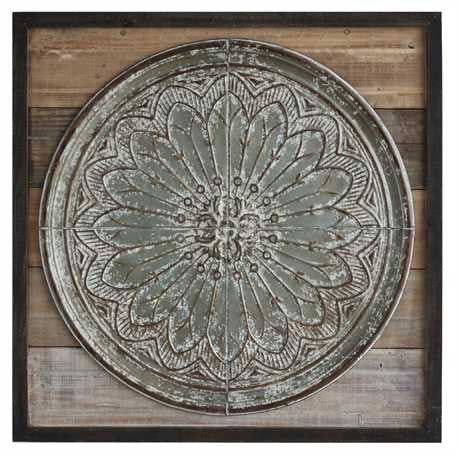 Wood with Tin Medallion Wall Decor