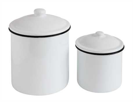 Enamel Metal Container Set of 2