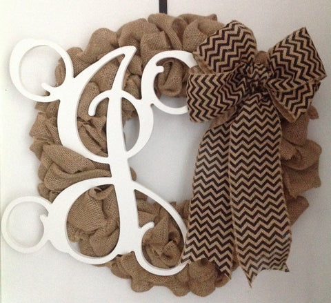Wreath - Burlap with White Vine Monogram