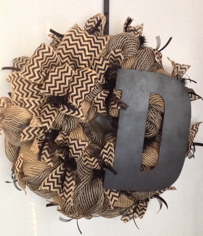 Wreath - Black & Burlap with Block Monogram