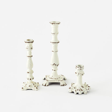 Cream Tarnished Candlestick
