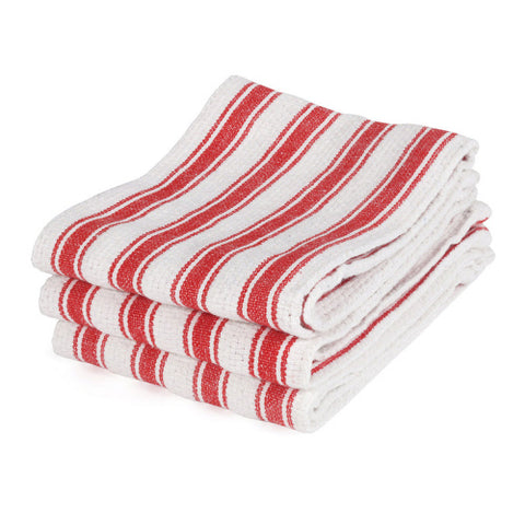 Railroad Stripe Kitchen Towels,Red
