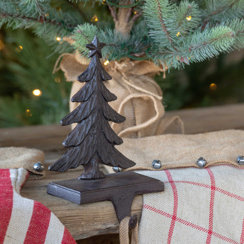 Iron Christmas Tree Stocking Holder