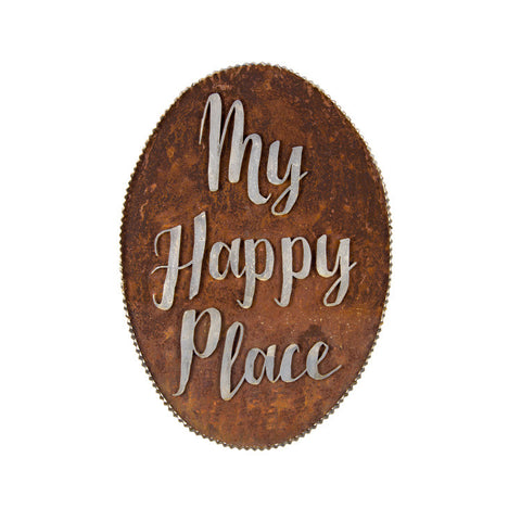 My Happy Place Galvanized Sign