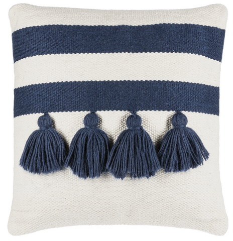 Off white pillow with 2 blue stripes and 4 blue tassels below the second stripe.
