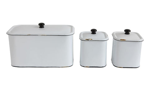Metal Enamel Boxes-Set of 3
