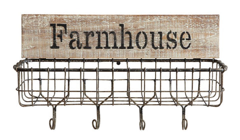 "Wall Basket ""Farmhouse"" w/ Hooks"