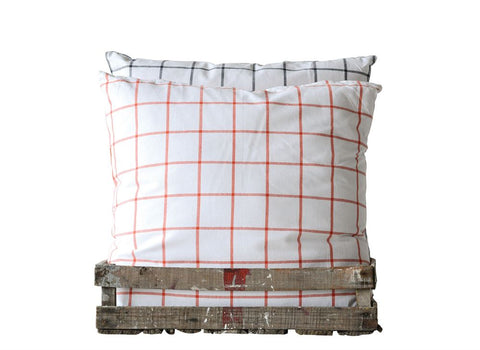 Square Cotton Checked Pillow