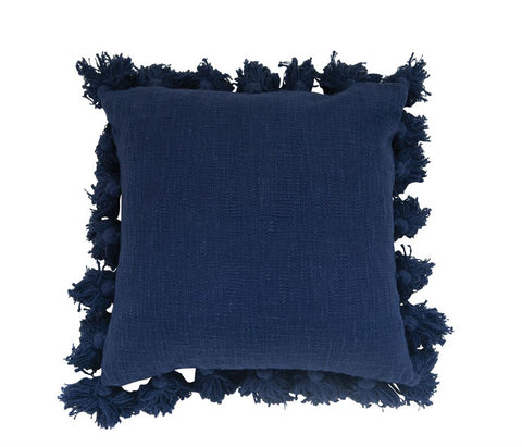 Cotton Pillow w/Tassels,Navy
