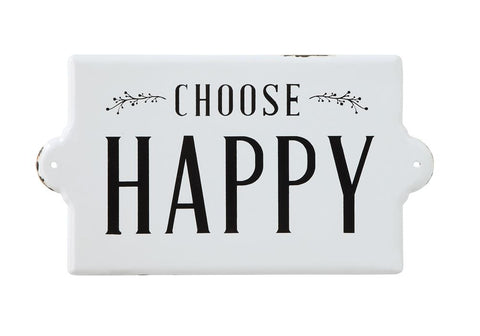 Choose Happy Metal Wall Sign