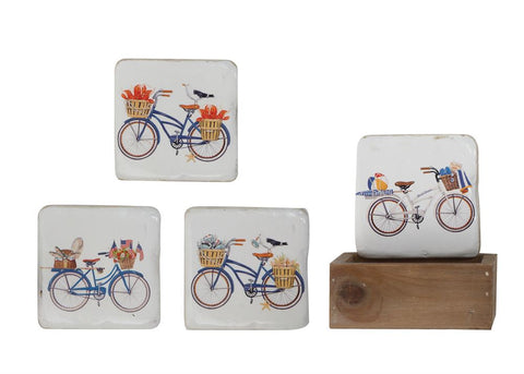 Coasters w/Bicycle in Wood Box