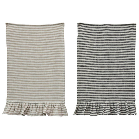 Cotton Striped Tea Towel w/Ruffle