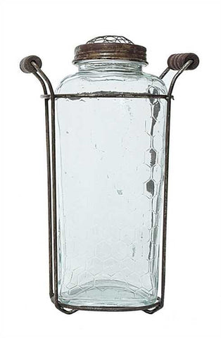"7"" Glass Vase w/Flower Lid"