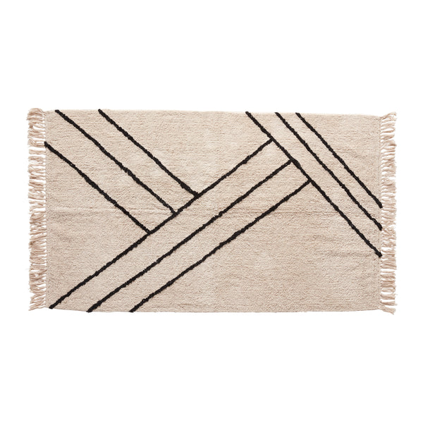 Rug, cotton, white/black