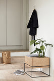 Bench with cushion & storage, oak/nature/grey