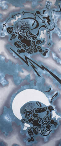 Tenugui- Fujin, Raijin (Wind God and Thunder God)