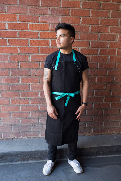 Cork District Apron Black with Turquoise Tie