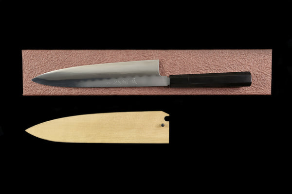 Gesshin Ittetsu 240mm White #2 Honyaki Wa-Gyuto with Ebony Handle