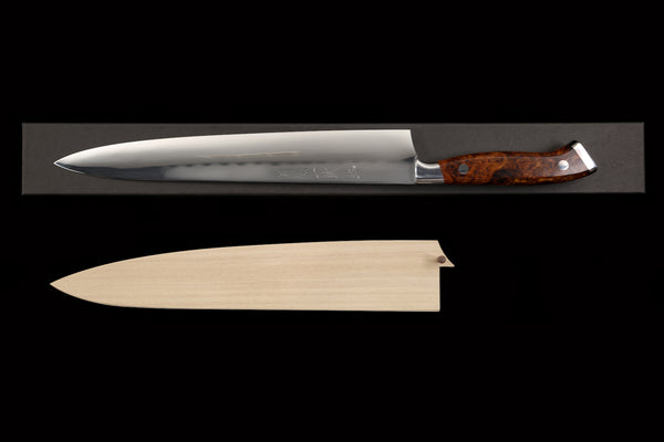 Gesshin Ittetsu 270mm White #2 Honyaki Sujihiki with Desert Ironwood Handle