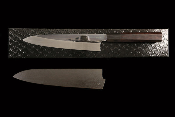 Gesshin Kagekiyo 210mm White #2 Mizu-Honyaki Mirror Finished Wa-Gyuto with Black Saya and Ebony Handle