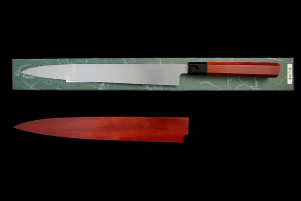 Gesshin Uraku 300mm White #2 Yanagiba with Red Lacquerware Handle and Saya