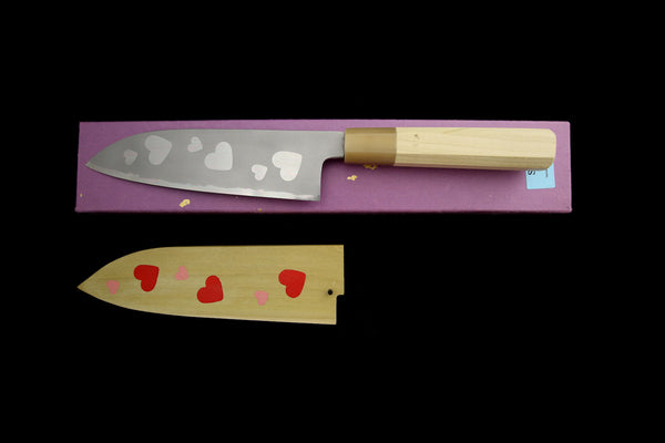 Gesshin Hide 180mm White #2 Hon-Kasumi Santoku with Hand Painted Saya- Heart