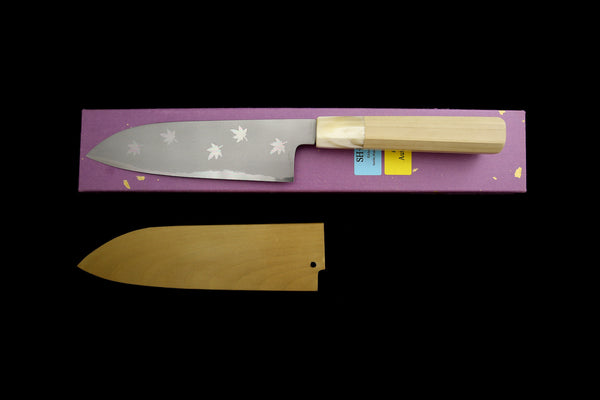 Gesshin Hide(Shin) 180mm White #2 Hon-Kasumi Santoku with Hand Painted Saya- Momiji
