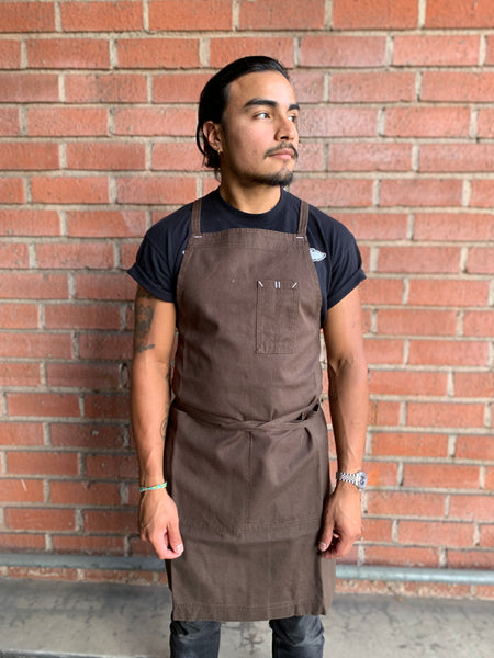White Bark Workwear Full Cross-Back Apron - Dark Brown