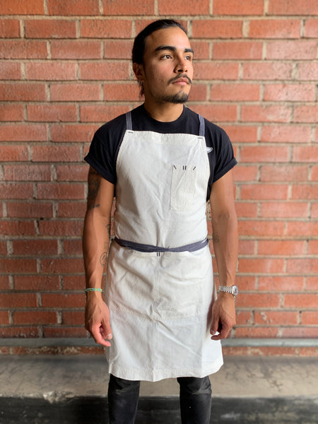 White Bark Workwear Full Cross-Back Apron - Light Weight White w/ Blue Straps