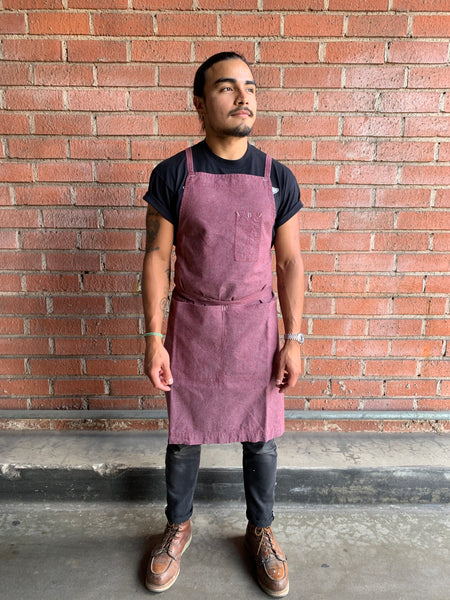 White Bark Workwear Full Cross-Back Apron - Grenache Red